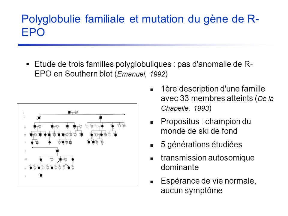 Etude de trois familles polyglobuliques : pas d'anomalie de R- EPO en Southern blot ( Emanuel, 1992 ) 1ère description d'une famille avec 33 membres a