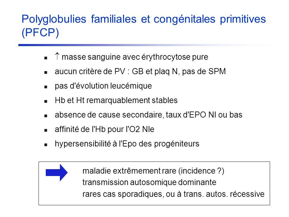 Polyglobulies familiales et congénitales primitives (PFCP) masse sanguine avec érythrocytose pure aucun critère de PV : GB et plaq N, pas de SPM pas d