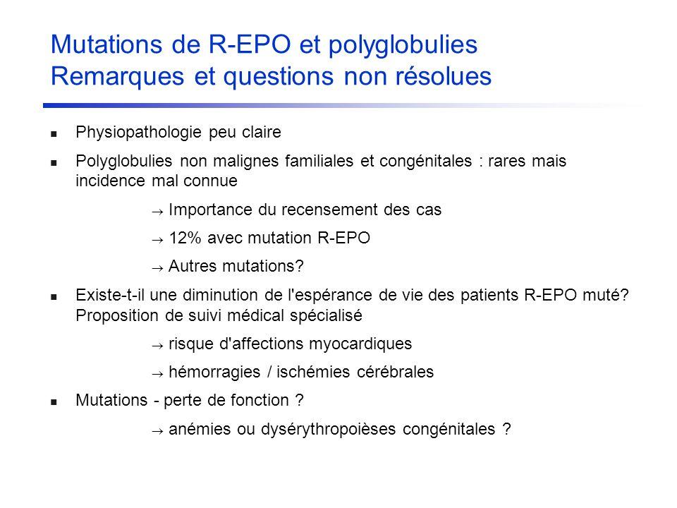 Mutations de R-EPO et polyglobulies Remarques et questions non résolues Physiopathologie peu claire Polyglobulies non malignes familiales et congénita