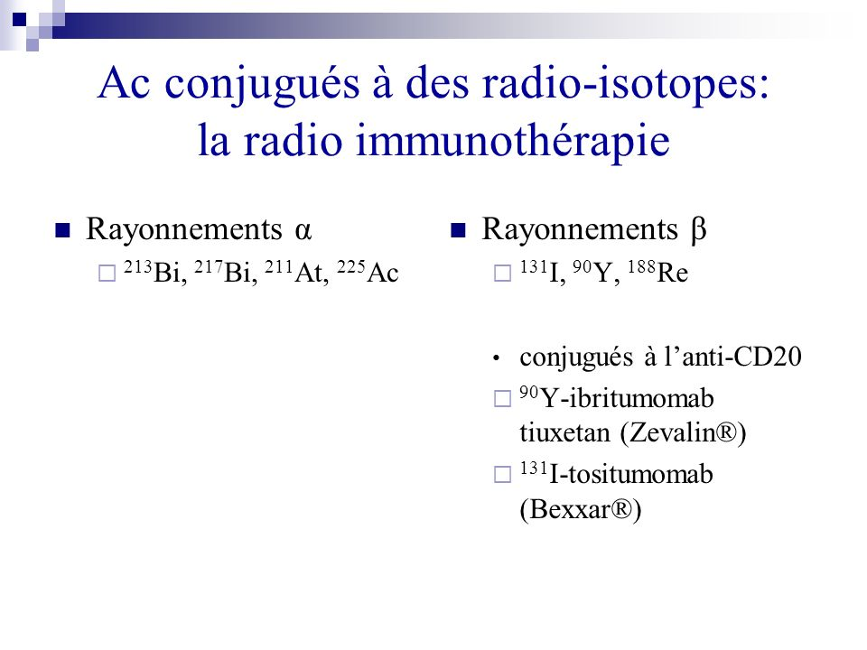 Ac conjugués à des radio-isotopes: la radio immunothérapie Rayonnements α 213 Bi, 217 Bi, 211 At, 225 Ac Rayonnements β 131 I, 90 Y, 188 Re conjugués