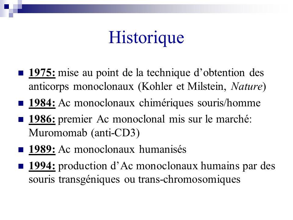 Historique 1975: mise au point de la technique dobtention des anticorps monoclonaux (Kohler et Milstein, Nature) 1984: Ac monoclonaux chimériques sour