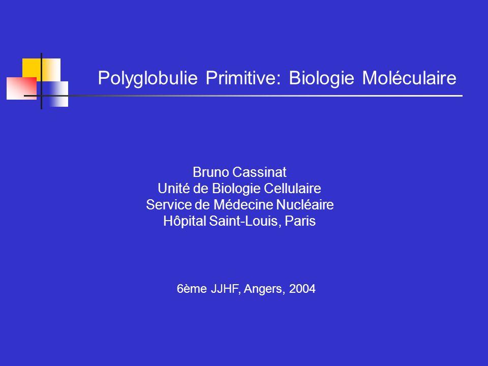 Les Syndromes Myéloprolifératifs Thérapeutique LMC: Anomalie Moléculaire Bcr-Abl : sensibilité à lImatinib Syndromes Myéloprolifératifs atypiques - avec fusion FIP1L1-PDGFRa: sensibilité à lImatinib - avec fusion X- PDGFRb: sensibilité à limatinib - avec fusion X-FGFR1: développement de thérapies ciblées Polyglobulie Vraie Thrombocytémie Essentielle Splénomégalie Myéloïde Anomalie Moléculaire .