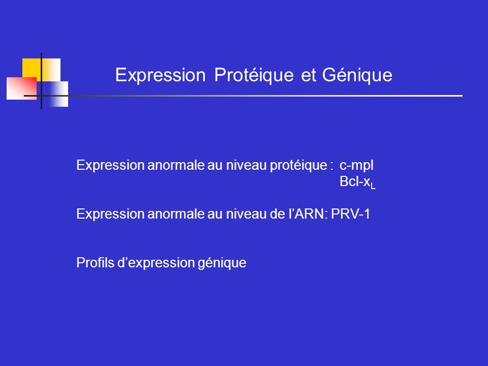 Expression Protéique et Génique Expression anormale au niveau protéique : c-mpl Bcl-x L Expression anormale au niveau de lARN: PRV-1 Profils dexpressi