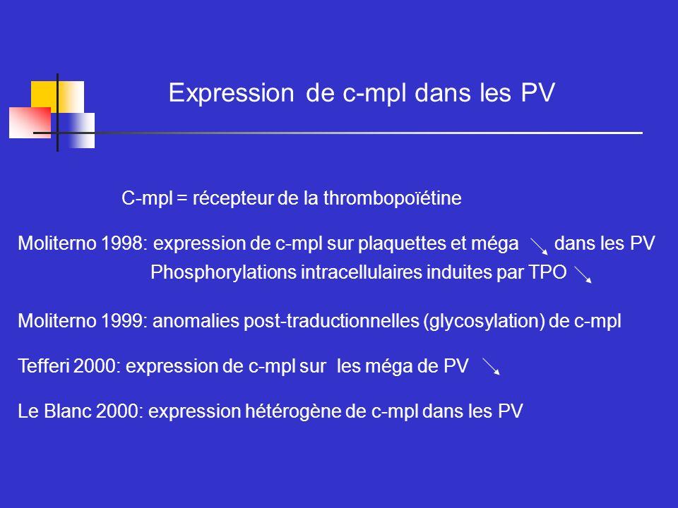 Expression de c-mpl dans les PV C-mpl = récepteur de la thrombopoïétine Moliterno 1998: expression de c-mpl sur plaquettes et méga dans les PV Phospho