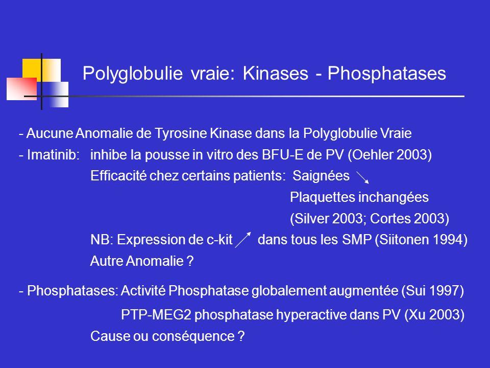 Polyglobulie vraie: Kinases - Phosphatases - Aucune Anomalie de Tyrosine Kinase dans la Polyglobulie Vraie - Imatinib: inhibe la pousse in vitro des B