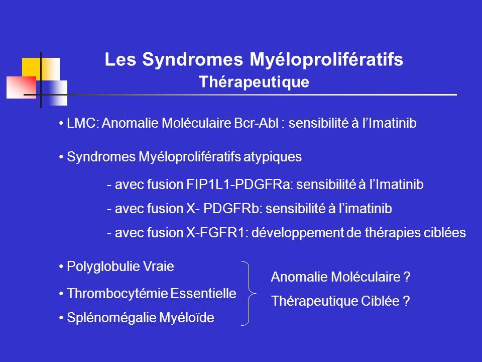 Les Syndromes Myéloprolifératifs Diagnostic Diagnostic de LMC: Présence de la translocation t(9;22) et transcrit Bcr-Abl Diagnostic de PV: Hématocrite Volume Globulaire Dosage dEpo Recherche dune polyglobulie secondaire: imagerie gaz du sang, EFR Culture des progéniteurs Clonalité, caryotype Biopsie médullaire Un marqueur moléculaire est vivement souhaité