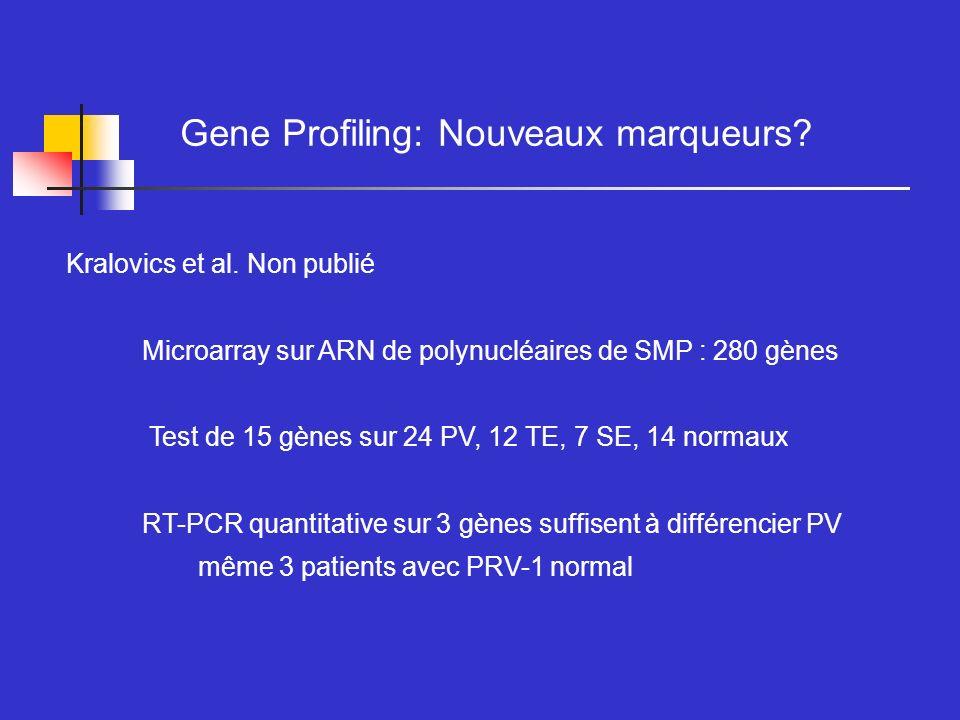 Kralovics et al. Non publié Microarray sur ARN de polynucléaires de SMP : 280 gènes Test de 15 gènes sur 24 PV, 12 TE, 7 SE, 14 normaux RT-PCR quantit