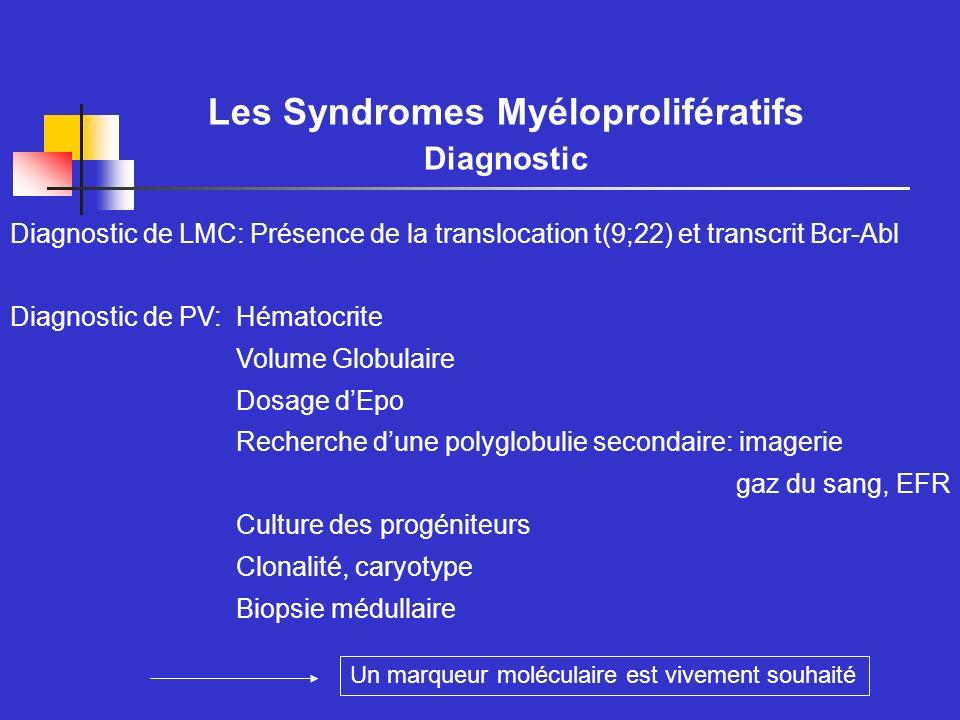 Les Polyglobulies Vraies Anomalies moléculaires Clonalité: - Anomalies du cayotype - Clonalité des cellules sanguines Mutations: - Récepteur de lEpo - VHL Anomalie de lexpression génique ou protéique - c-mpl - Bcl-xL - Kinases ou phosphatases - PRV-1 - nouveaux marqueurs?