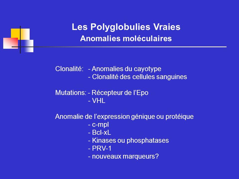 Clonalité: Anomalies Cytogénétiques Rationnel: PV = maladie clonale sans anomalie moléculaire spécifique anomalies cytogénétiques participent au diagnostic de clonalité Fréquence des anomalies: - Fréquence augmente avec stade de la maladie 15% au diagnostic à 30% en cours dévolution jusquà 80% à la fin - acquisition de nouvelles anomalies avec lévolution de la maladie - cytogénétique conventionnelle vs FISH .