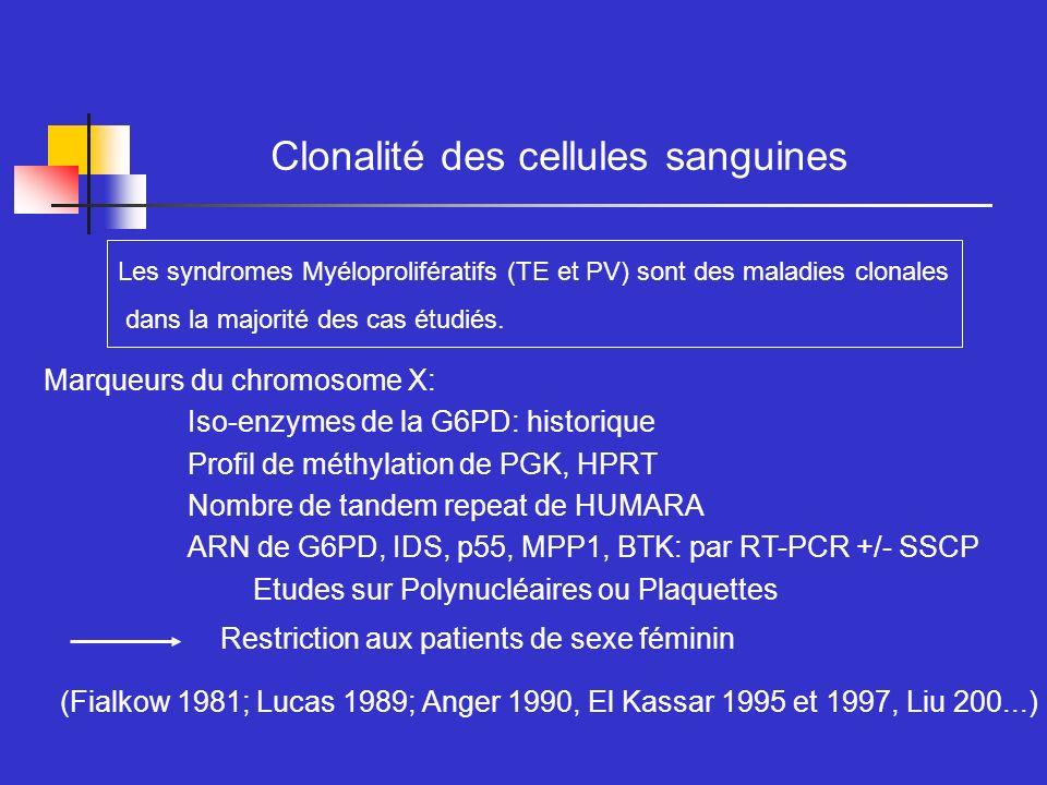 Clonalité des cellules sanguines Marqueurs du chromosome X: Iso-enzymes de la G6PD: historique Profil de méthylation de PGK, HPRT Nombre de tandem rep