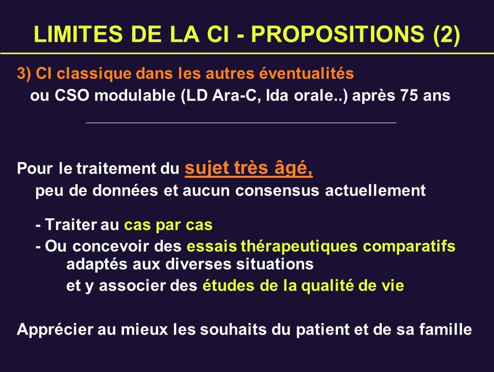 LIMITES DE LA CI - PROPOSITIONS (2) 3) CI classique dans les autres éventualités ou CSO modulable (LD Ara-C, Ida orale..) après 75 ans Pour le traitem