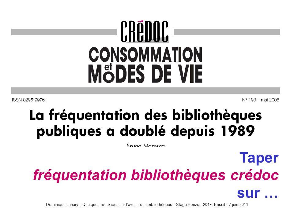 Dominique Lahary : Quelques réflexions sur lavenir des bibliothèques – Stage Horizon 2019, Enssib, 7 juin 2011 RevueLivre Taper fréquentation bibliothèques crédoc sur …