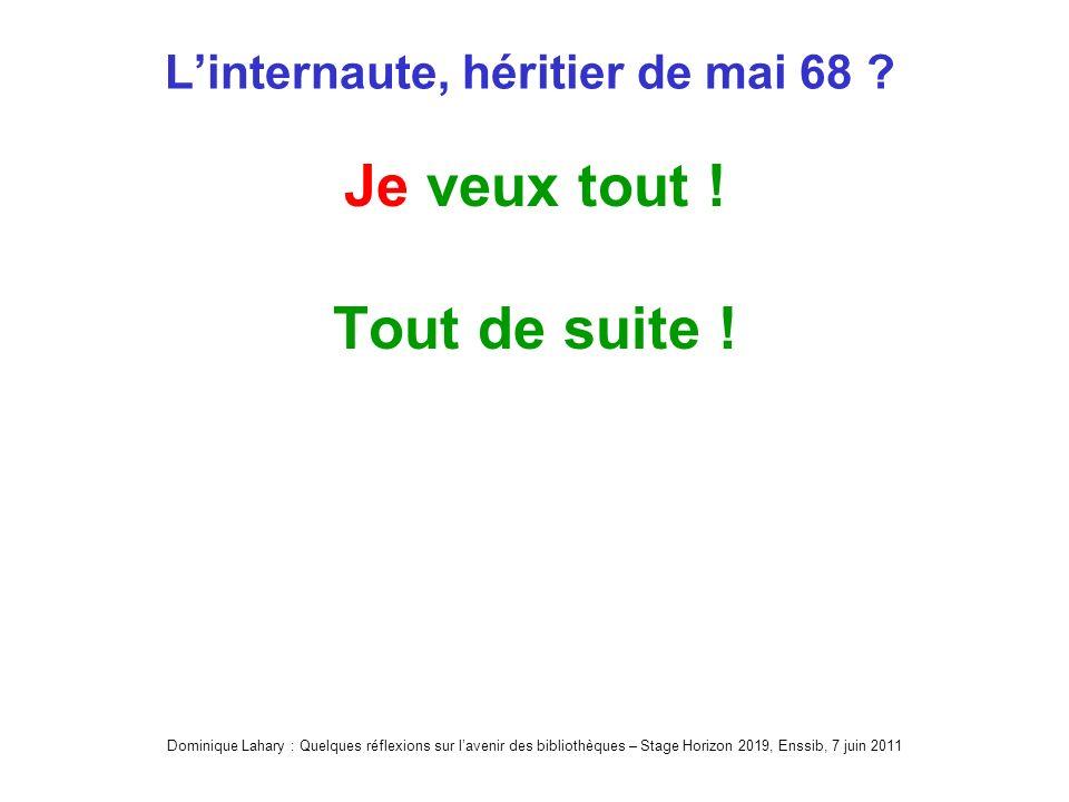 Dominique Lahary : Quelques réflexions sur lavenir des bibliothèques – Stage Horizon 2019, Enssib, 7 juin 2011 Linternaute, héritier de mai 68 .