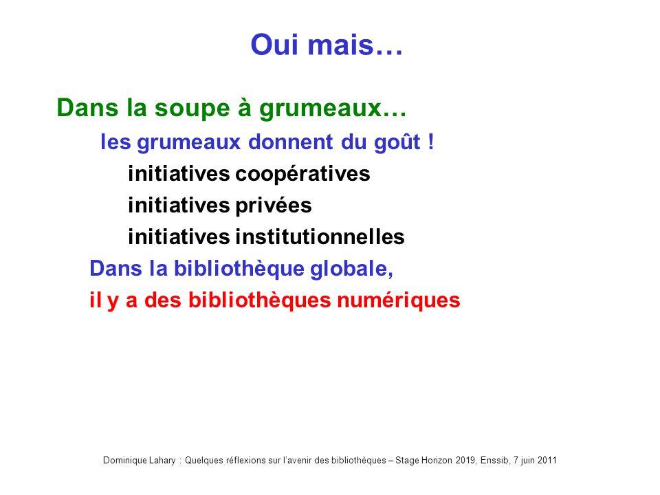 Dominique Lahary : Quelques réflexions sur lavenir des bibliothèques – Stage Horizon 2019, Enssib, 7 juin 2011 Oui mais… Dans la soupe à grumeaux… les grumeaux donnent du goût .