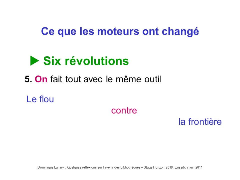 Dominique Lahary : Quelques réflexions sur lavenir des bibliothèques – Stage Horizon 2019, Enssib, 7 juin 2011 Ce que les moteurs ont changé Six révolutions 5.