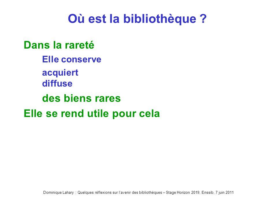 Dominique Lahary : Quelques réflexions sur lavenir des bibliothèques – Stage Horizon 2019, Enssib, 7 juin 2011 Où est la bibliothèque .