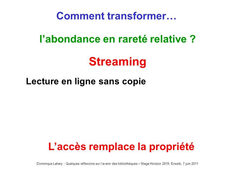 Dominique Lahary : Quelques réflexions sur lavenir des bibliothèques – Stage Horizon 2019, Enssib, 7 juin 2011 Comment transformer… labondance en rareté relative .
