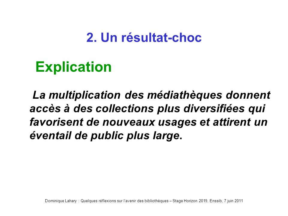 Dominique Lahary : Quelques réflexions sur lavenir des bibliothèques – Stage Horizon 2019, Enssib, 7 juin 2011 2.