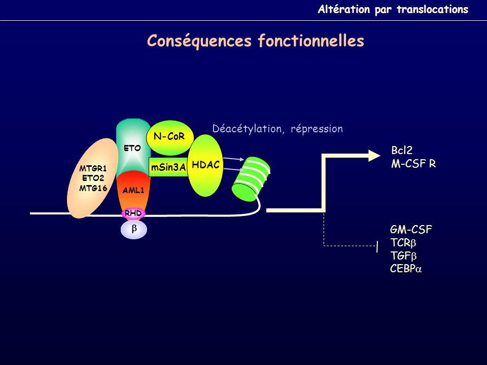 Déacétylation, répression AML1 Bcl2 M-CSF R GM-CSF TCR TGF CEBP ETO RHD mSin3A N-CoR HDAC ETO MTGR1 ETO2 MTG16 Conséquences fonctionnelles Altération