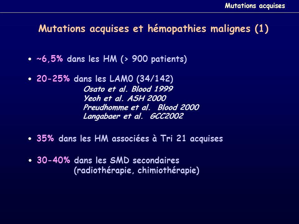 Mutations acquises et hémopathies malignes (1) ~6,5% dans les HM (> 900 patients) 20-25% dans les LAM0 (34/142) Osato et al. Blood 1999 Yeoh et al. AS
