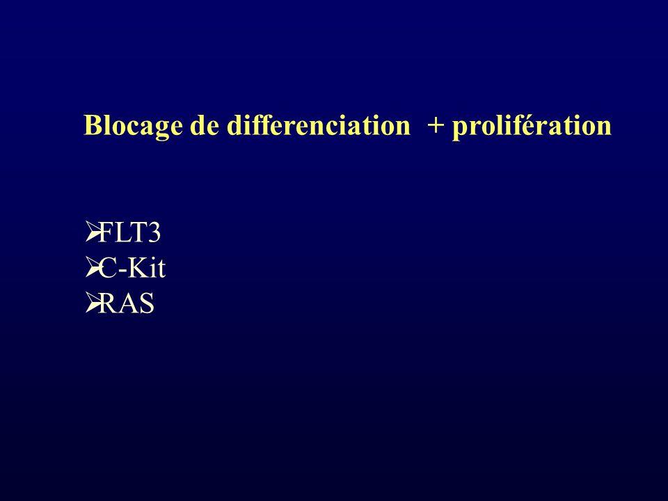 Blocage de differenciation + prolifération FLT3 C-Kit RAS