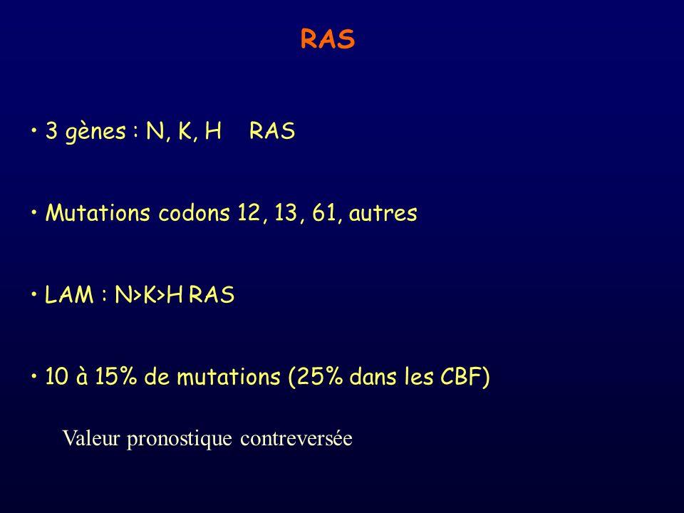 RAS 3 gènes : N, K, H RAS Mutations codons 12, 13, 61, autres LAM : N>K>H RAS 10 à 15% de mutations (25% dans les CBF) Valeur pronostique contreversée