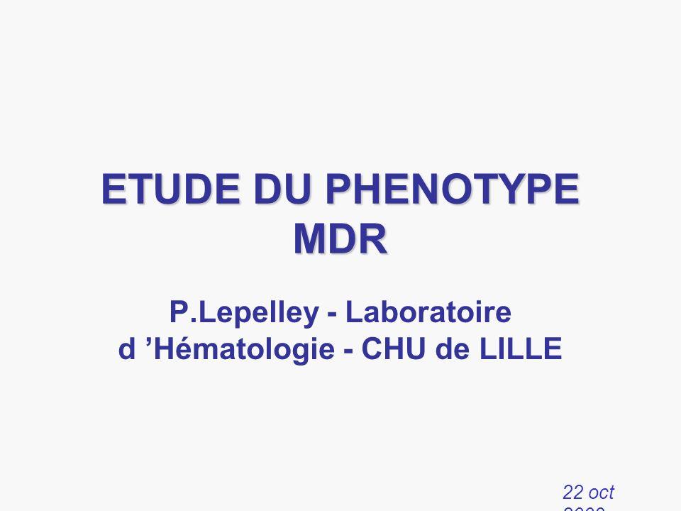 ETUDE DU PHENOTYPE MDR P.Lepelley - Laboratoire d Hématologie - CHU de LILLE 22 oct 2003