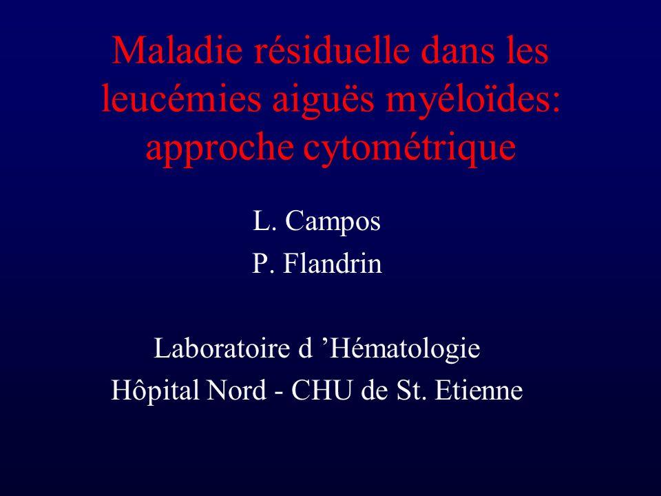 Maladie résiduelle dans les leucémies aiguës myéloïdes: approche cytométrique L. Campos P. Flandrin Laboratoire d Hématologie Hôpital Nord - CHU de St