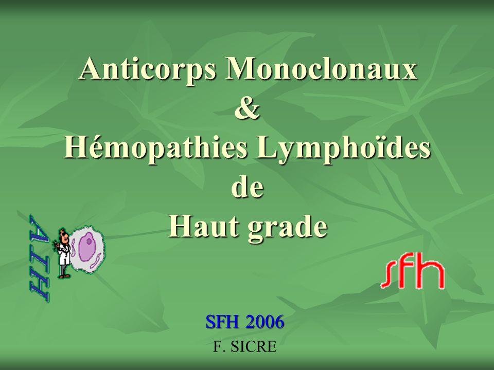 Anticorps Monoclonaux & Hémopathies Lymphoïdes de Haut grade SFH 2006 F. SICRE