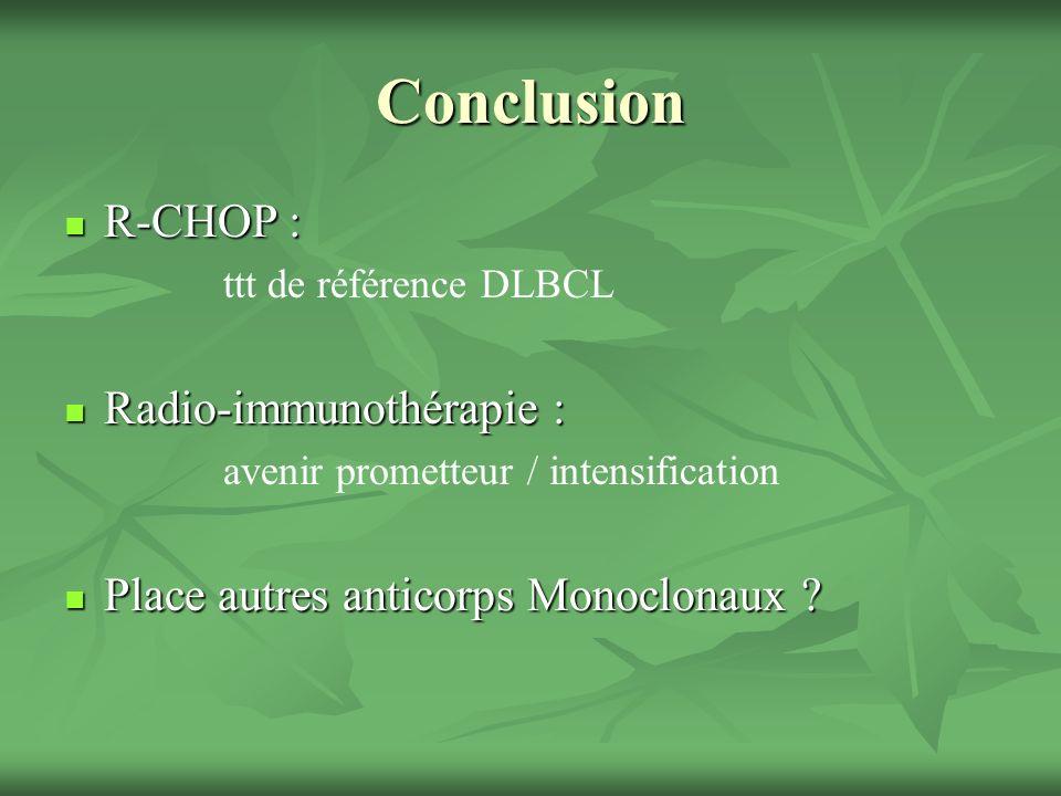 Conclusion R-CHOP : R-CHOP : ttt de référence DLBCL Radio-immunothérapie : Radio-immunothérapie : avenir prometteur / intensification Place autres anticorps Monoclonaux .