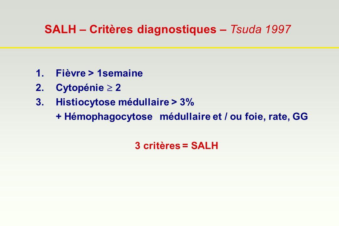 SALH – Critères diagnostiques – Tsuda 1997 1.Fièvre > 1semaine 2.Cytopénie 2 3.Histiocytose médullaire > 3% + Hémophagocytose médullaire et / ou foie,