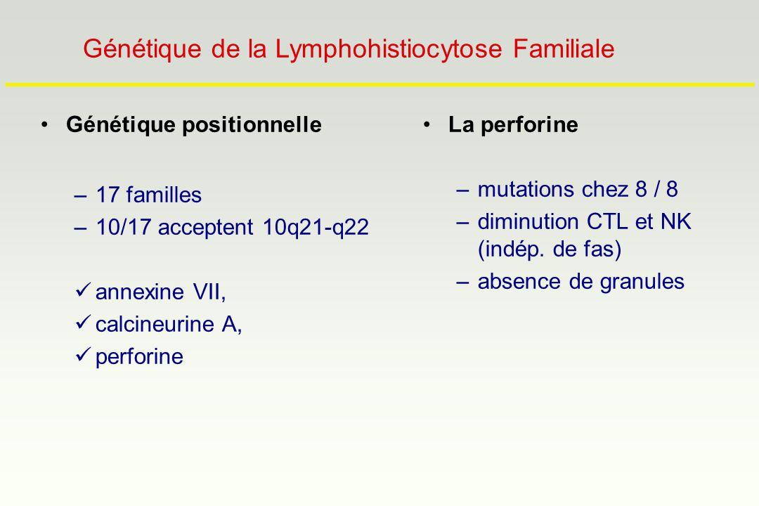 Génétique positionnelle –17 familles –10/17 acceptent 10q21-q22 annexine VII, calcineurine A, perforine La perforine –mutations chez 8 / 8 –diminution