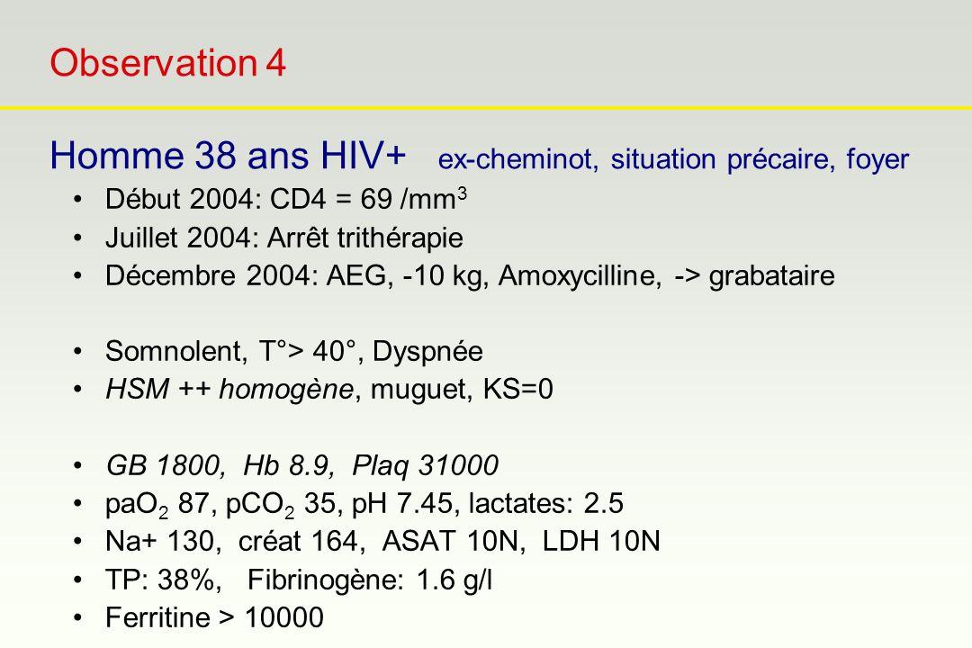 Observation 4 Homme 38 ans HIV+ ex-cheminot, situation précaire, foyer Début 2004: CD4 = 69 /mm 3 Juillet 2004: Arrêt trithérapie Décembre 2004: AEG,
