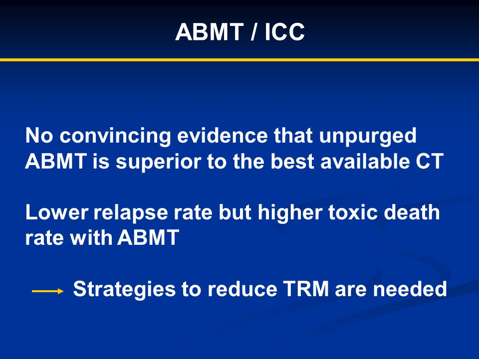 ABMT / ICC No convincing evidence that unpurged ABMT is superior to the best available CT Lower relapse rate but higher toxic death rate with ABMT Strategies to reduce TRM are needed