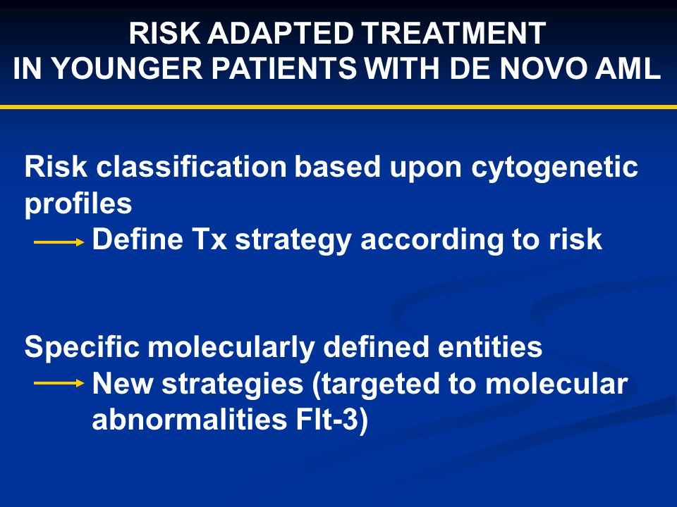 RISK ADAPTED TREATMENT IN YOUNGER PATIENTS WITH DE NOVO AML Risk classification based upon cytogenetic profiles Define Tx strategy according to risk Specific molecularly defined entities New strategies (targeted to molecular abnormalities Flt-3)