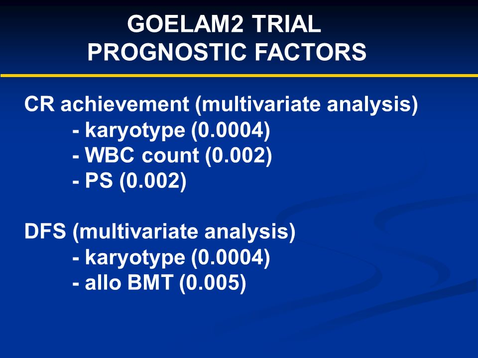 GOELAM2 TRIAL PROGNOSTIC FACTORS CR achievement (multivariate analysis) - karyotype (0.0004) - WBC count (0.002) - PS (0.002) DFS (multivariate analysis) - karyotype (0.0004) - allo BMT (0.005)