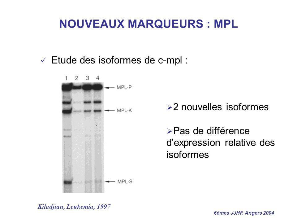 6èmes JJHF, Angers 2004 NOUVEAUX MARQUEURS : MPL Etude des isoformes de c-mpl : 2 nouvelles isoformes Pas de différence dexpression relative des isofo