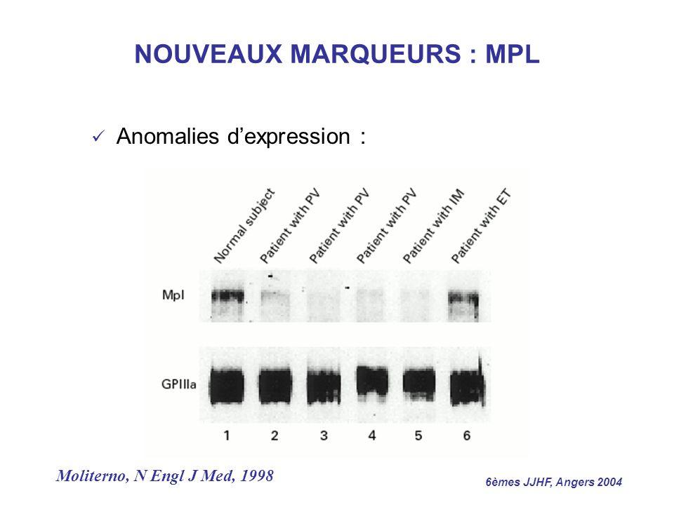 6èmes JJHF, Angers 2004 Anomalies dexpression : Moliterno, N Engl J Med, 1998 NOUVEAUX MARQUEURS : MPL
