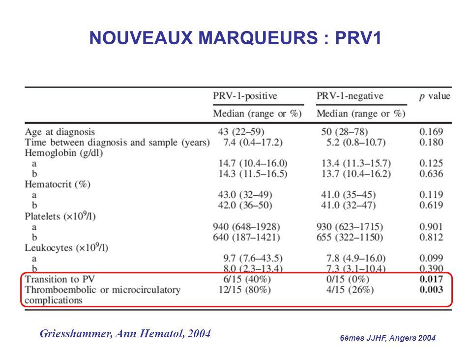6èmes JJHF, Angers 2004 Griesshammer, Ann Hematol, 2004 NOUVEAUX MARQUEURS : PRV1