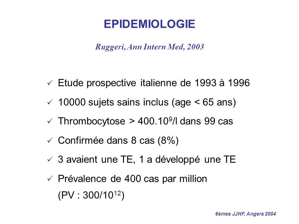 6èmes JJHF, Angers 2004 CRITERES DIAGNOSTIQUES DE TE PVSG Thrombocytose > 600.10 9 /l VGI normal ou Hb < 13 g/dl Absence de fer MO, et absence daugmentation > 1g de lHb après traitement martial Fibrose collagène absente ou < 1/3 BOM si erythro-myélémie ou splénomégalie Absence de chromosome Philadelphie
