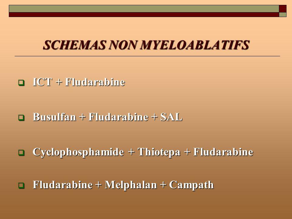 SCHEMAS NON MYELOABLATIFS ICT + Fludarabine ICT + Fludarabine Busulfan + Fludarabine + SAL Busulfan + Fludarabine + SAL Cyclophosphamide + Thiotepa +