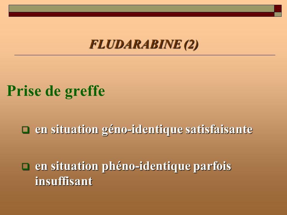 FLUDARABINE (2) Prise de greffe en situation géno-identique satisfaisante en situation géno-identique satisfaisante en situation phéno-identique parfo