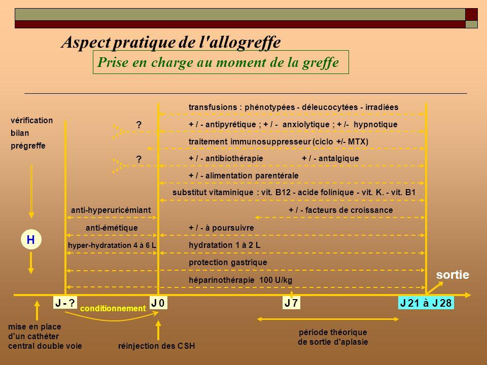 Aspect pratique de l'allogreffe Prise en charge au moment de la greffe vérification bilan prégreffe H mise en place d'un cathéter central double voie