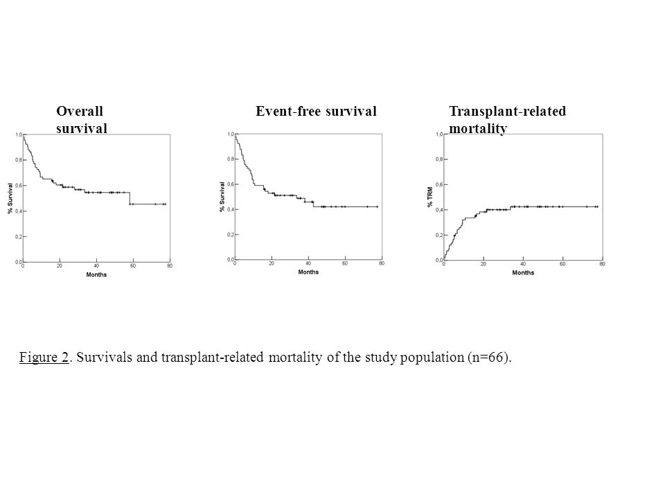 Figure 2. Survivals and transplant-related mortality of the study population (n=66). Overall survival Event-free survivalTransplant-related mortality