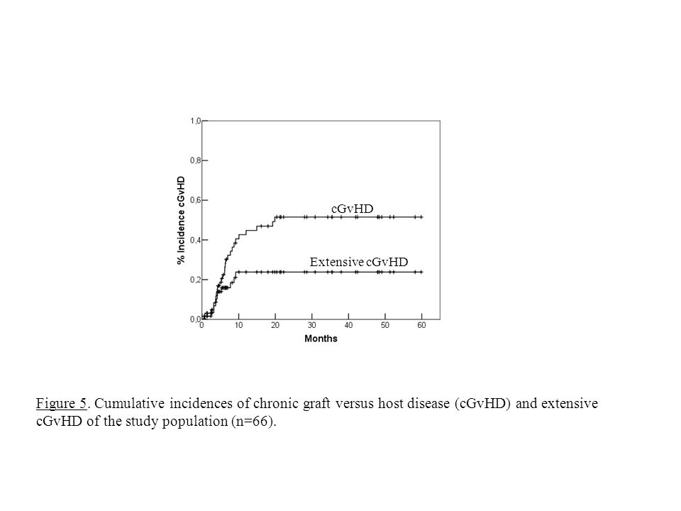 Figure 5. Cumulative incidences of chronic graft versus host disease (cGvHD) and extensive cGvHD of the study population (n=66). cGvHD Extensive cGvHD