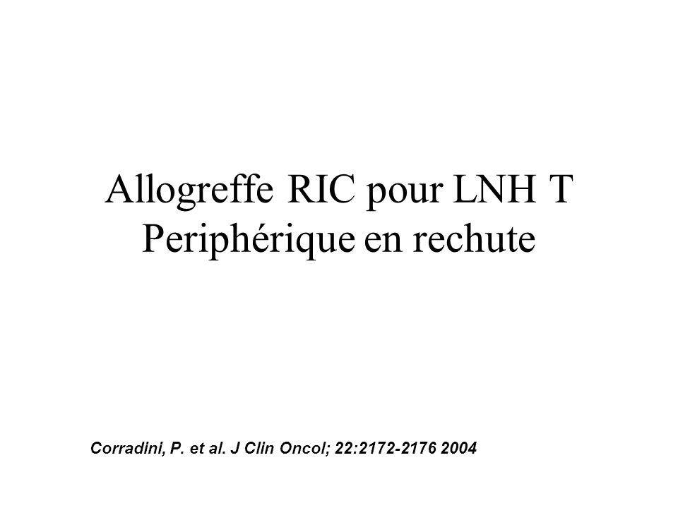 Allogreffe RIC pour LNH T Periphérique en rechute Corradini, P. et al. J Clin Oncol; 22:2172-2176 2004