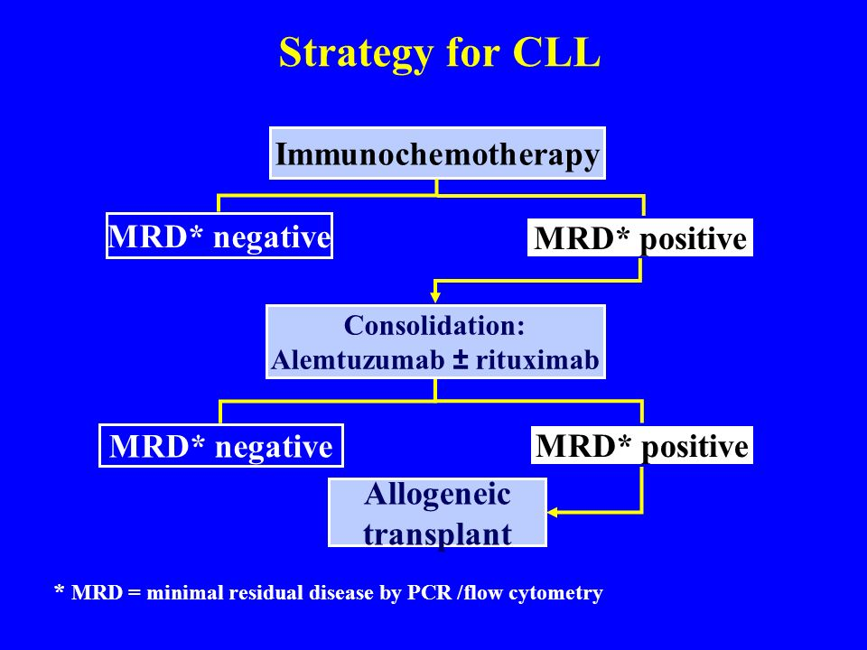 Strategy for CLL Consolidation: Alemtuzumab ± rituximab Immunochemotherapy MRD* negative Allogeneic transplant MRD* negative MRD* positive * MRD = min