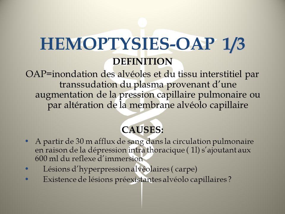 1/3 HEMOPTYSIES-OAP 1/3 DEFINITION OAP=inondation des alvéoles et du tissu interstitiel par transsudation du plasma provenant dune augmentation de la