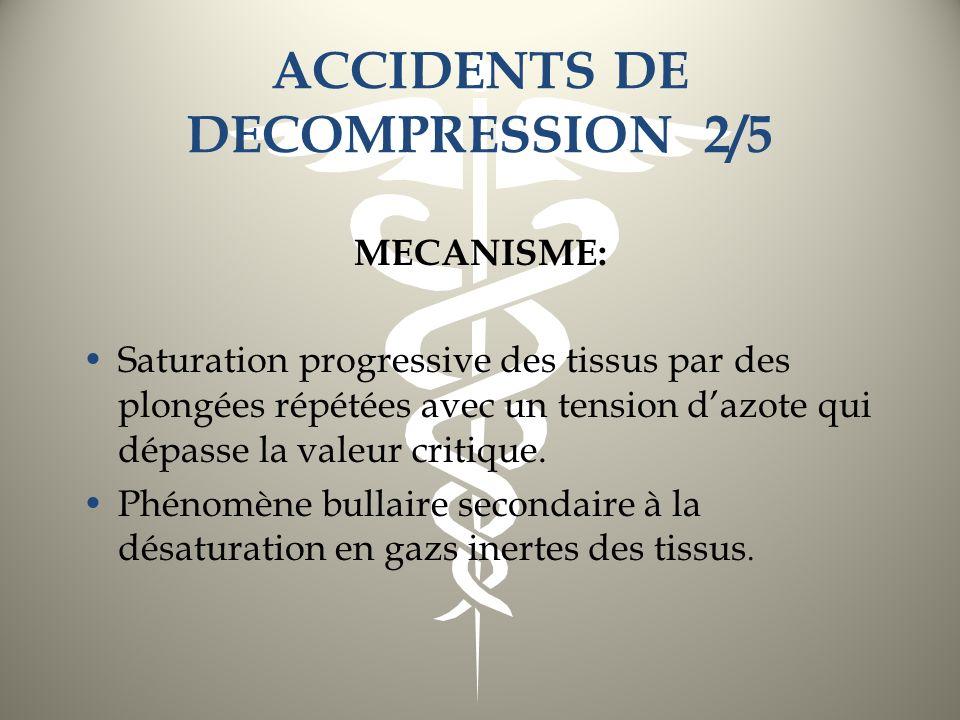 ACCIDENTS DE DECOMPRESSION 2/5 MECANISME: Saturation progressive des tissus par des plongées répétées avec un tension dazote qui dépasse la valeur cri