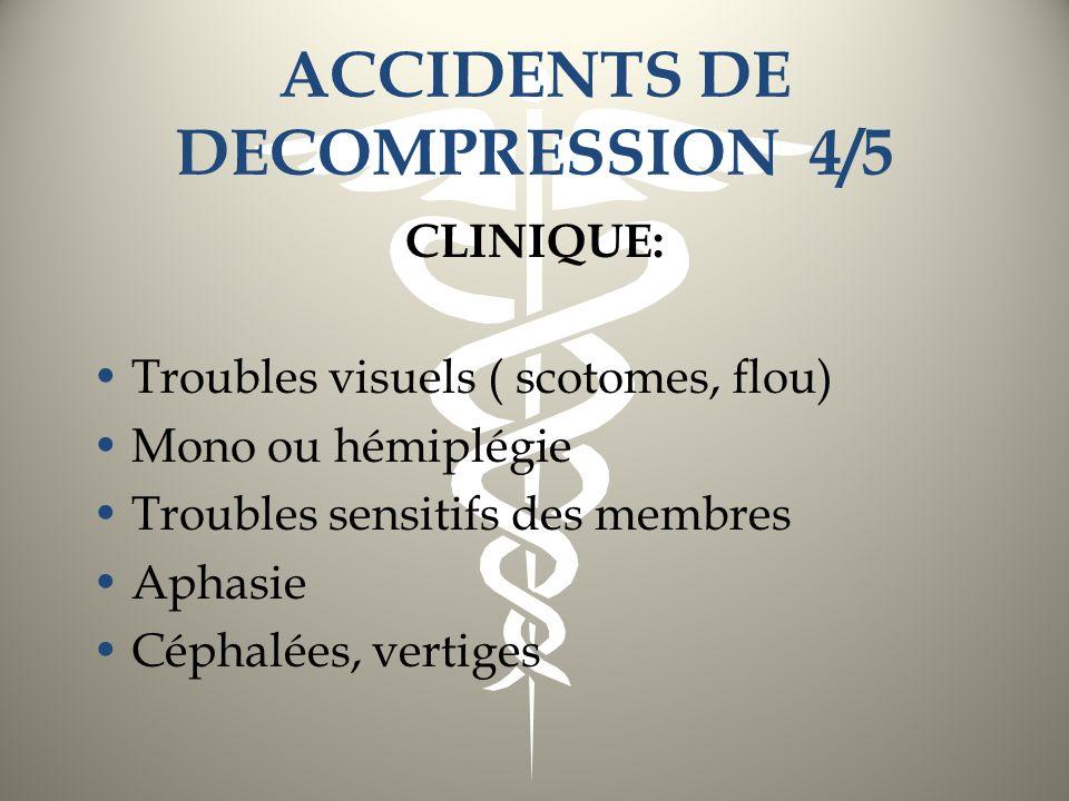 ACCIDENTS DE DECOMPRESSION 4/5 CLINIQUE: Troubles visuels ( scotomes, flou) Mono ou hémiplégie Troubles sensitifs des membres Aphasie Céphalées, verti
